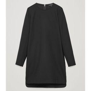COS Short Black Wool Long Buttoned Sleeve Dress